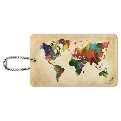 Globe Of The World (Colorful Rainbow Map of the World Earth Globe Luggage Card Carry-On ID)