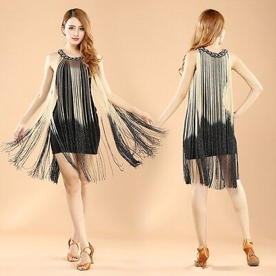 Womens Cocktail Ombre Fringe 20s Flapper Great Gatsby Theme Party Dress S M L - Great Gatsby Themed Party Attire