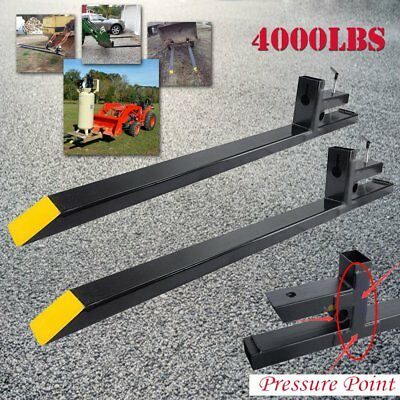 """Clamp on 4000lbs Capacity Pallet Forks Loader Bucket Skidsteer Tractor Chain 60"""""""