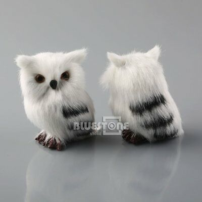 US 2PCS Owl White Black Furry Ornament Decor Adornment Simulation Gifts