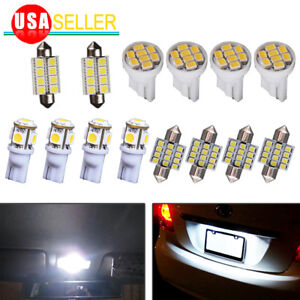14x Pure White LED Interior Package Kit For T10 & 31mm Dome Map License Lights