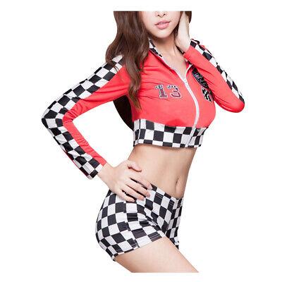 Womens Long Sleeved Race Car Driver Adult Halloween Queen Costume Fancy Dress