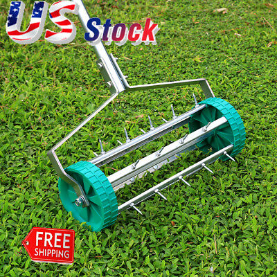 Lawn Spike Aerator Garden Outdoor Rolling Grass Steel Roller Aluminum Handle US