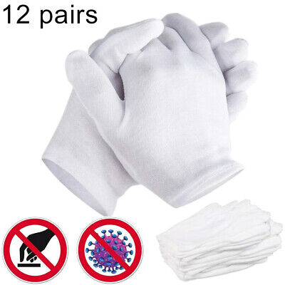 12 Pairs White Soft Thin Cotton Gloves For Coin Jewelry Silver Inspection Work