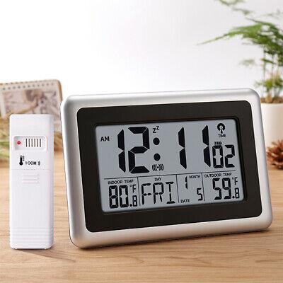 Digital Atomic Wall Desk Clock Big LCD Display Indoor Outdoor Temperature Snooze