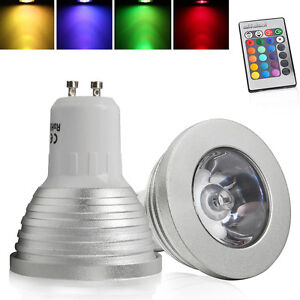 GU10 MR16 E14 E27 3W LED Spot RGB Licht Light Lampe Fernbedienung Farbwechsel