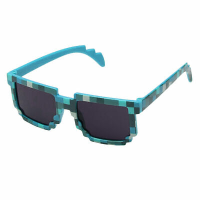 8 Bit Pixelated Nerd Geek Gaming Glasses Clear Lens Unisex Sunglasses Party Blue - Pixel Nerd Glasses