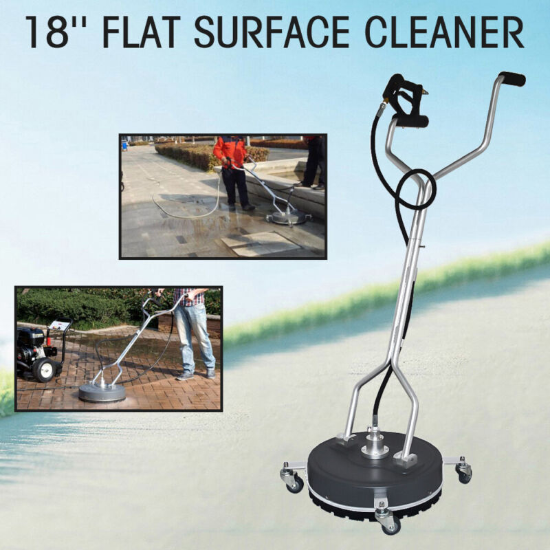 """USED 18"""" Stainless Steel Flat Surface Concrete Cleaner Pressure Washer + Wheels"""