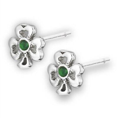 Shamrock Cutout Leaf Clover Simulated Emerald Sterling Silver Stud - Shamrock Cutout