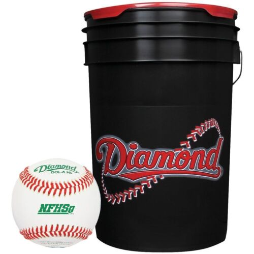 Diamond 6-Gallon Ball Bucket with 30 DOL-A Baseballs, Black BKT B DOL-A 30