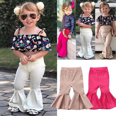 Toddler Bottom Pants - Toddler Baby Girls Bell Bottom Pants Stretchy Flare Wide Leg LeggingsTrousers