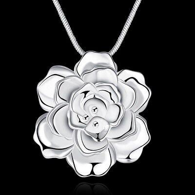 Rose Flower 925 Sterling Silver Pendant Necklace Choker Women Girlfriend - Silver Gifts