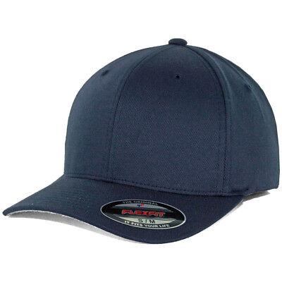 Flexfit Precurved Hat (Dark Navy Blue) Men's Blank Stretch Cap