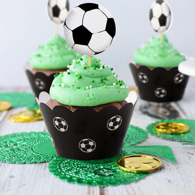 24PCS Soccer Football Cake Cupcake Toppers & Wrappers Kids Birthday Party Decor (Soccer Party Decor)