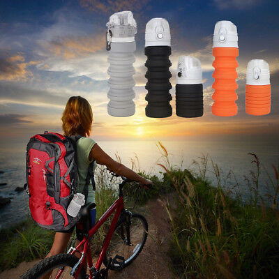 New 500ml Retractable Sport Kettle Silicone Folding Outdoor Cycling Water Bottle