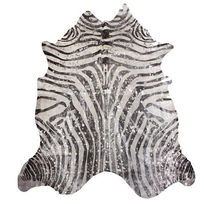Super Size Genuine Cow Hide - Skin with Zebra Print Silver Metallic Finish for sale  Shipping to South Africa