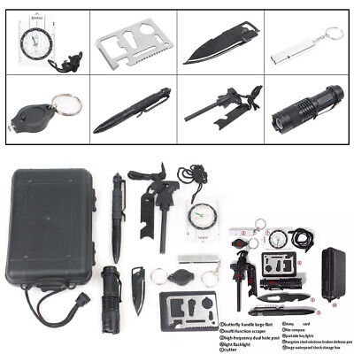 10 in 1 Outdoor Sports Camping Hiking Survival Emergency Gear Tools Box Kit Set