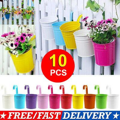 10x Colors Flower Pot Hanging Pots Balcony Garden Plant Metal Hook Iron Planter