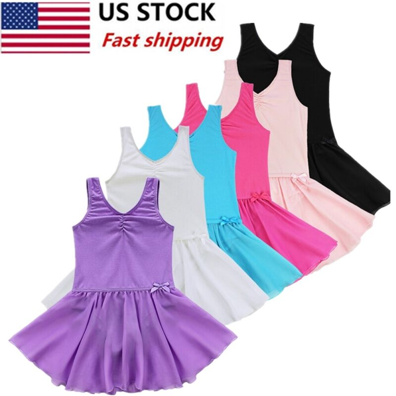 22e30a2931c6 US Kids Girls Gymnastics Leotard Dress Ballet Dance Tutu Skirt ...