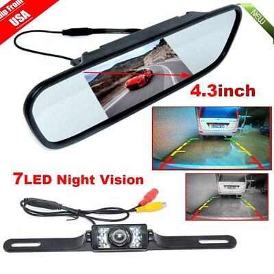 """4.3"""" TFT LCD Monitor Mirror+wired Reverse Car Rear View Backup Camera Kit OY"""