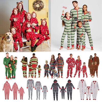 US Christmas Family Match Pajamas PJs Set One-Piece Romper Sleepwear Nightwear ()