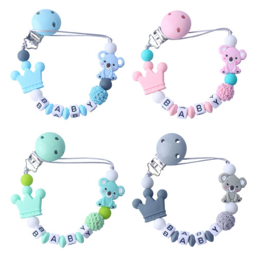 silicone beaded baby pacifier clip holder nipple