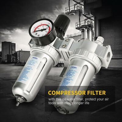 12 Inch Air Compressor Filter Oil Water Separator Trap Tool W Regulator Gauge