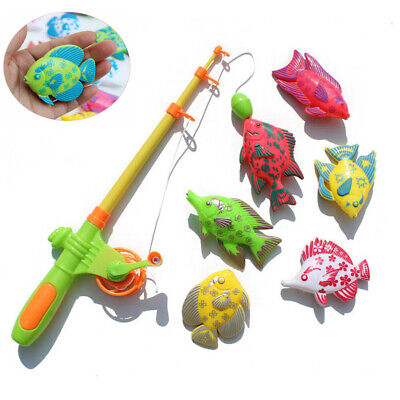 New 7pcs Magnetic Fishing Toy Pole Rod Model Fish Kid Baby Bath Time Fun Game