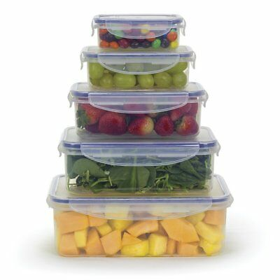 Food Storage Containers w Locking Lids, Microwave Safe and BPA Free, Set of -