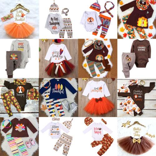 Baby Thanksgiving Clothes Kids Boy Girl Romper Tops+Pants Tu