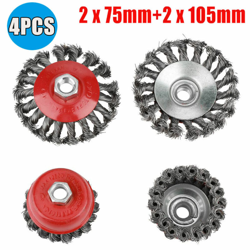 4Pcs/Set Rotary Knot Flat Cup Wire Wheel Brush for Angle Grinder Rust Removal US