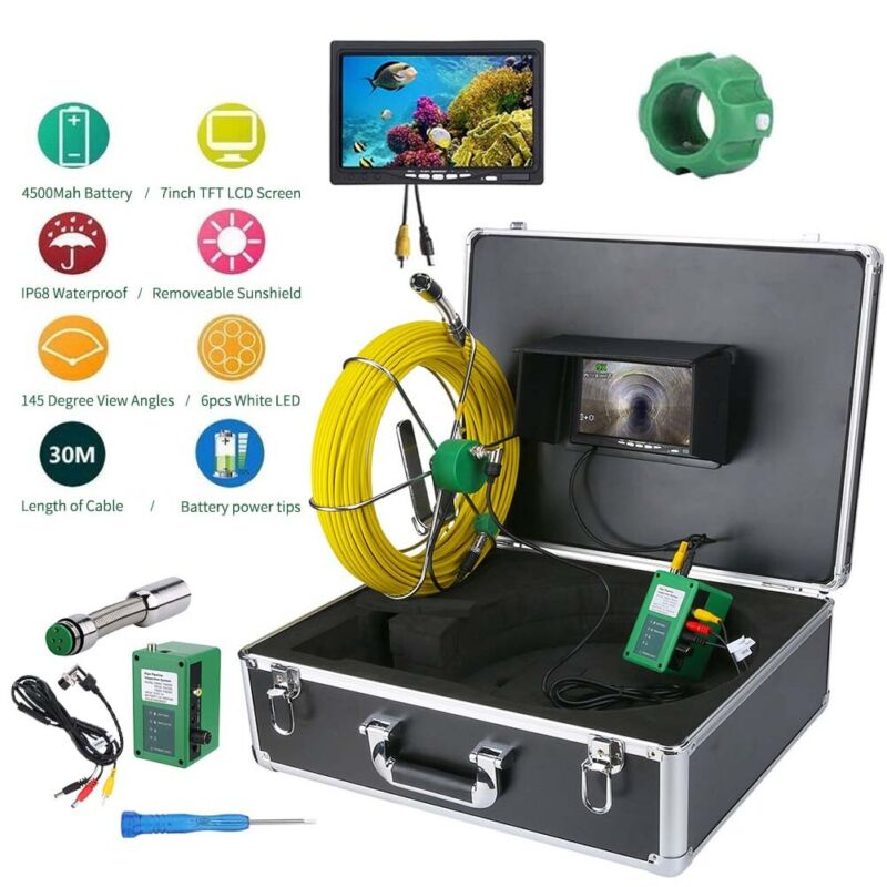"""Waterproof Drain Pipe Sewer Inspection Camera System 7""""LCD 1000 TVL Camera 30M"""