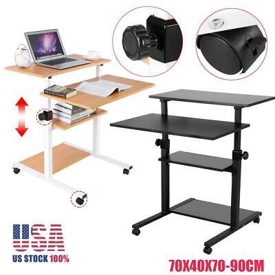 Adjustable Computer Desk Laptop Rolling Shelf Stand Up Lift Table Home Furniture ()