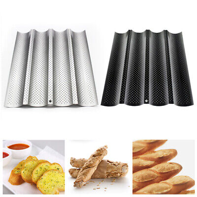4 Slots French Bread Baguette Pan Mold Non-Stick Wave Loaf Bake Baking Mould New