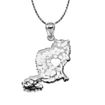 Sterling Silver Oxidized Fluffy Cat With Cutout Heart Silhouette Pendant   - Heart Silhouette Pendant