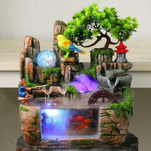 Rockery Water Fountain Desktop Chinese Fengshui Lamp Waterfa