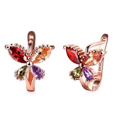 Small Butterfly Earrings - Rhodium Plated Multi Colored CZ Butterfly Small Hoop Huggie Earrings