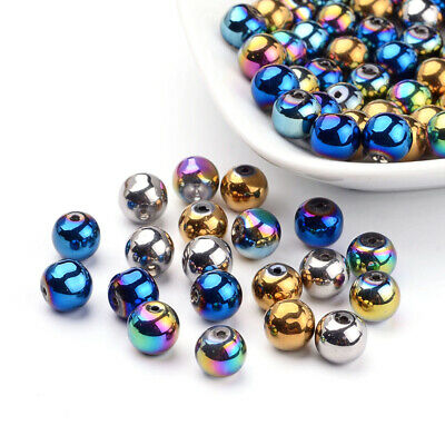 Diy Mardi Gras Beads (100pcs Mardi Gras Round Electroplate Glass Beads Mixed Color 8mm DIY)