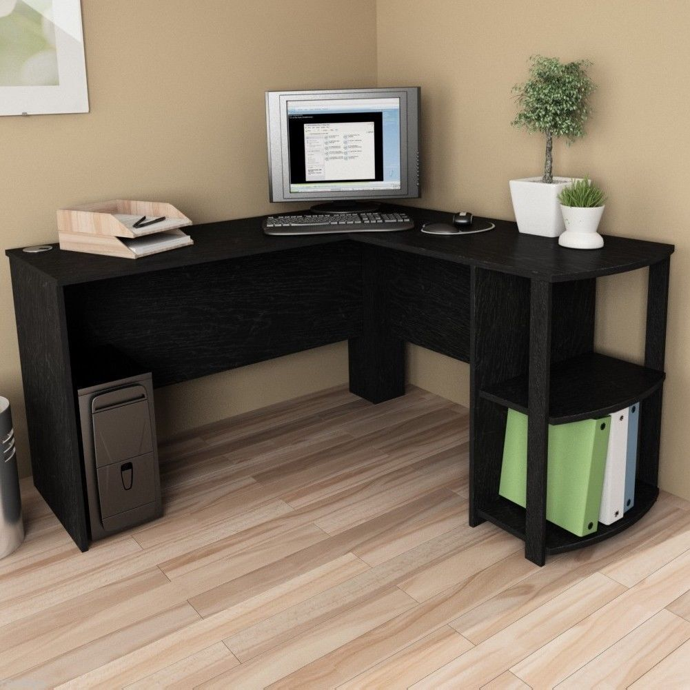 l shaped corner desk computer workstation home office executive work table ebay. Black Bedroom Furniture Sets. Home Design Ideas