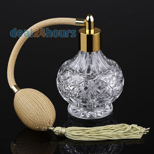 Clear Crystal Glass Perfume Bottle Atomizer Yellow Long Tassel Spray Pump 80ml