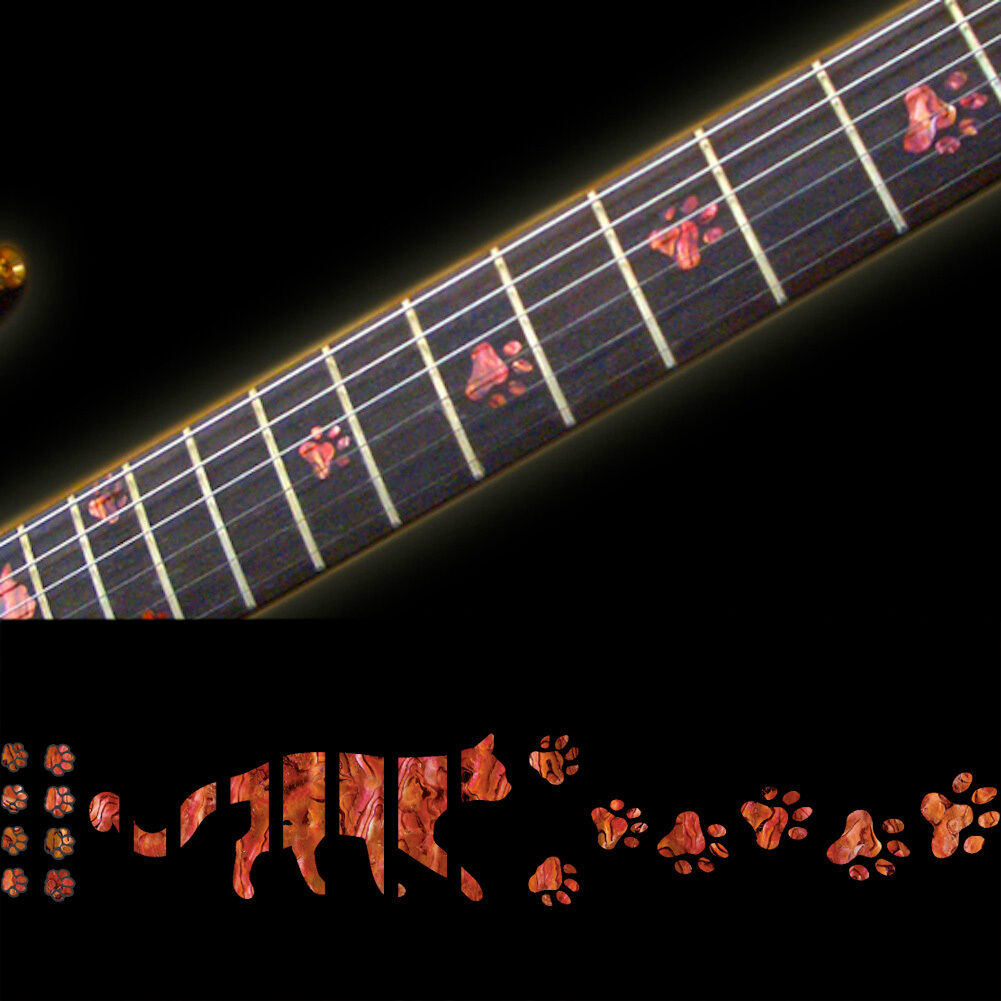 Inlay Stickers Decals Fret Markers For Guitar Bass -Cat Foot Print Cat Paw-Red - $13.00