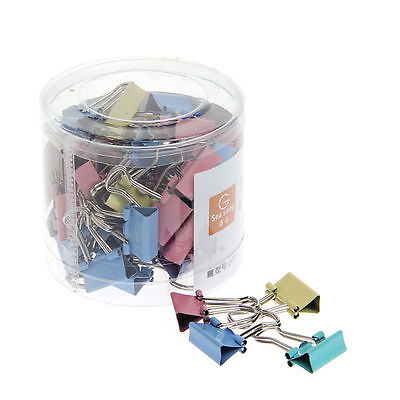 60pcs Colorful Metal Binder Clips File Paper Clip Office Supplies 15mm Width