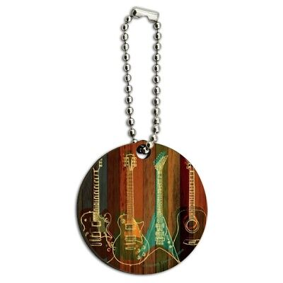 Guitars Electric Acoustic Rock and Roll Wood Wooden Round Keychain for sale  Shipping to India