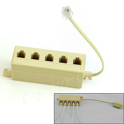 5 Ways Outlet Phone Modular RJ11 Line Jack Telephone Splitter Adapter Connector