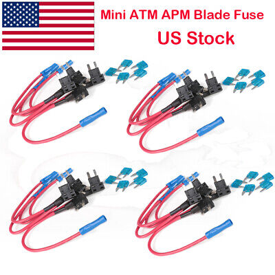5pcs Car Fuse Holder Connector Extension Adapter Mini ATM 20 Amp 16 gauge 26.5in