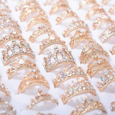 Wholesale Rhinestone Jewelry (50Pcs Wholesale Crown Mixed Bulk Ring Alloy Rhinestone Finger Band Rings)