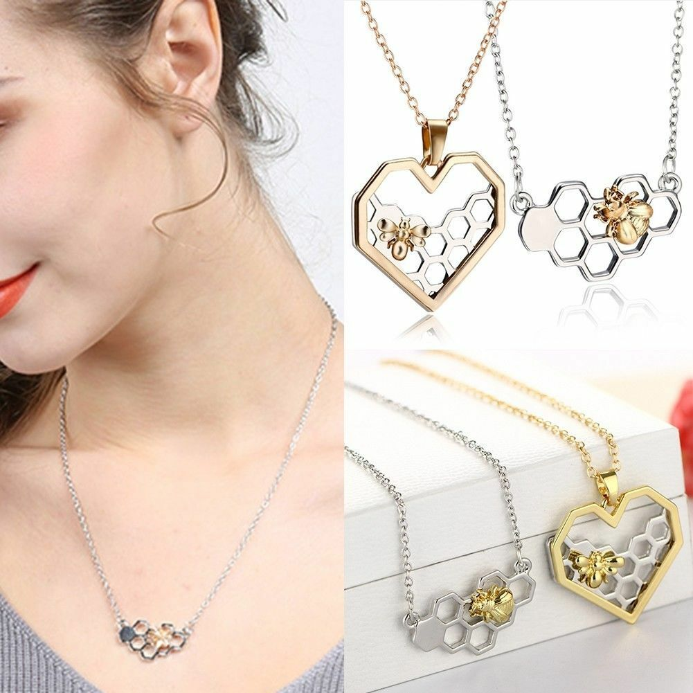 Natural Heart Shape Honeycomb Beehive Hive Honey Bee Pendant Charm Necklace