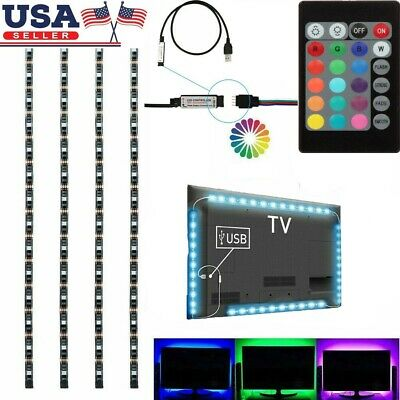 1-4Pcs USB Powered RGB 5050 LED Strip Lighting for TV Computer Background Light