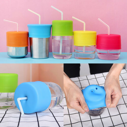 Silicone Baby Toddler Sippy Cup Lid Straw Spill-Proof Cover