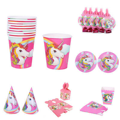 Unicorn Theme Party Supplies Decor Happy Birthday Paper Cup Plate Hat Stylish